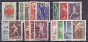 Finland Sc B1/B113 MNH. 1922-52 Semi-Postals, 5 complete sets, VF