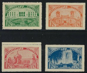 1937 Canadian National Philatelic Exhibition in Toronto - 4 mint Poster Stamps