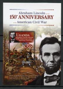 Uganda Abraham Lincoln Stamps 2012 MNH American Civil War Famous People 1v S/S