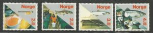 NORWAY B70, a-d, MNH SINGLES FROM SOUVENIR SHEET SALMON INDUSTRY