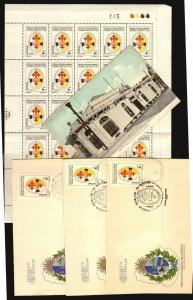 Catholic Circle of Workers health Hospital Uruguay stamp FDC & Postcard ca 1900