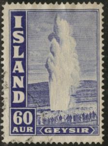 ICELAND Scott 208A used 1943 Geyser stamp