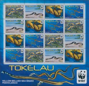 Tokelau 2011 SG420-423 Yellow-bellied Sea Snake WWF sheetlet MNH