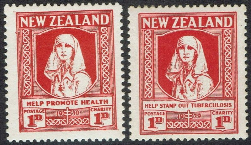 NEW ZEALAND 1929 HEALTH CHARITY 1D BOTH INSCRIPTIONS