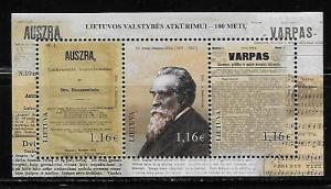 Lithuania 1087 100th Revival of State s.s. MNH
