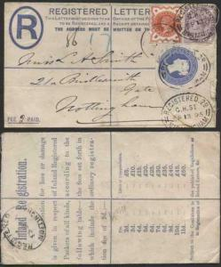 RP20 QV 2d Blue Registered Letter Format RF7 Stamp R4 Size F Used Uprated