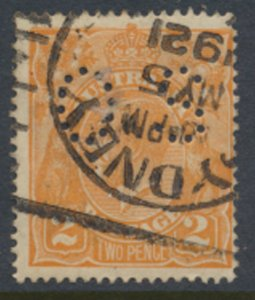 Australia  SG 62 perfin OS  1918 perf 14 Used  - please see scans  Sydney 192...