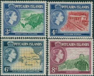 Pitcairn Islands 1957 SG22-25 Scenes Map MLH