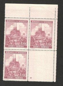 Germany Occ Bohemia & Moravia-Czechoslovakia -MNH 3 STAMPS+TAB-1.20 K*-1940