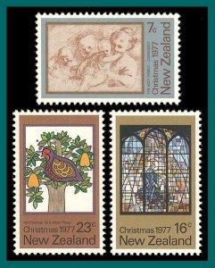New Zealand 1977 Christmas, MNH  #632-634,SG1153-SG1155