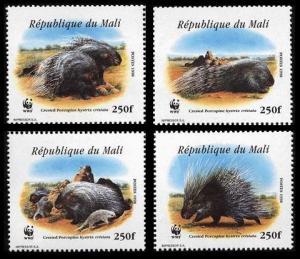 Mali WWF Crested Porcupine 4v MI#1974-1977 SC#918 a-d