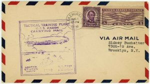 USA Airmail USS AKRON Tactical Training Flight Cachet 1932 Cover Postage Stamps