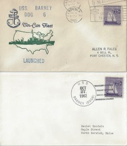 US Naval Cover USS Barney DDG 6  1960 Launched, 1962 Navy Day