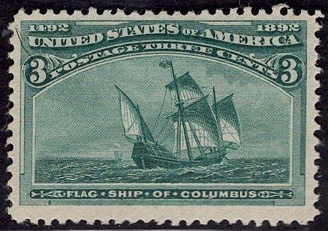US Stamp #232 3c Columbian MINT Hinged SCV $35