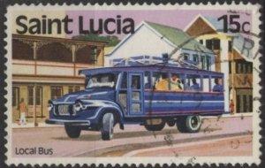 St. Lucia 506 (used) 15c local bus (1980)