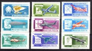 1962, Hungary, History of Aviation set, MNH, Sc C210-18