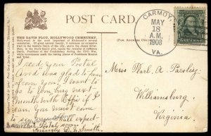 Virginia 1908 Carmoy VA DPO Open 1907-09 Helbock R5 Cover 92507