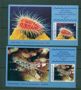 Turks & Caicos - Sc# 1254-5  Marine Life Photography Souv. Sheets. MNH $8.75.