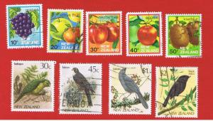 New Zealand #761-769  VF used  Fruits and Birds Free S/H