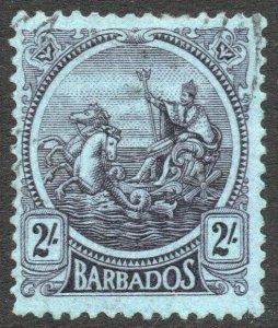 BARBADOS-1921-24 2/- Purple/Blue Sg 227 FINE USED V46452