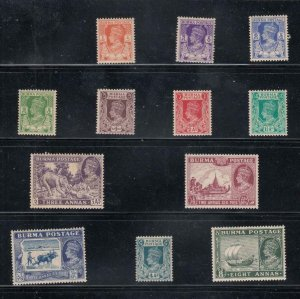 BURMA # 18a-29 VF-MLH KGV ISSUES CAT VALUE $32+