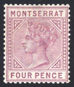 Montserrat 1884 4d Mauve DETACHED TRIANGLE SG 12a Sc 10v LMM/MLH Cat £350($455)