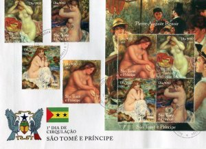 Sao Tome & Principe 2005 RENOIR Nudes Paintings set+ s/s Perforated in FDC