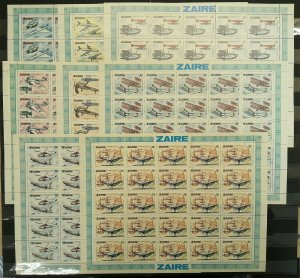 GU13 1978 ZAIRE AVIATION DEVELOPMENT DA VINCI #580-587 MICHEL 262,5 € 25SET MNH