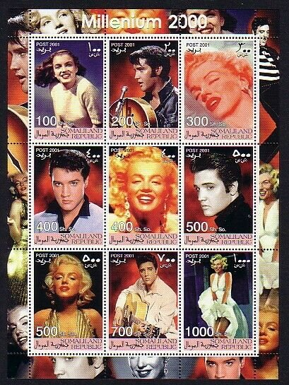 Somaliland, 2001 Cinderella issue. Elvis & Marilyn Monroe sheet of 9. *