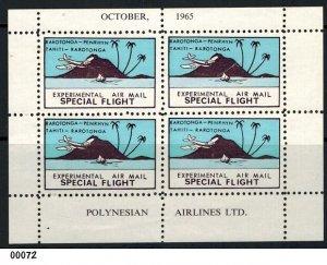 Rarotonga 1965 Experimental Flight Minisheet MNH with Post Office Insert