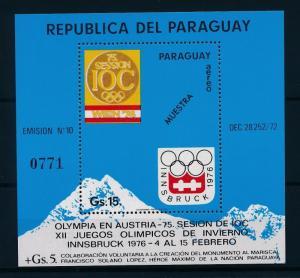 [55091] Paraguay 1974 Olympic games Innsbruck Overprint Muestra MNH Sheet