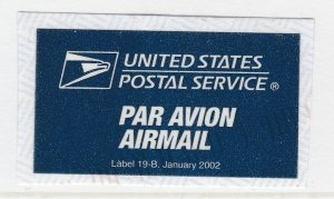 Air Mail US Postal Service 2002 Label On Piece A20P39F2551
