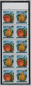 1991 BK178 Pears Peaches Sc 2488a never folded pane plate no. 11111 CV $8