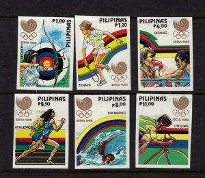 Philippines #1955-60 (1988 Seoul Olympics set imperforate)  VFMNH CV  $25.00