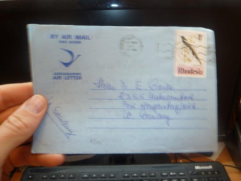 Rhodesia 8c bird on 1977 Aerogramme to Germany w message  (57bee)