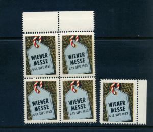 5 VINTAGE 1953  VIENNA FAIR POSTER STAMPS (L788) GERMANY AUSTRIA WIENER MESSE!!!
