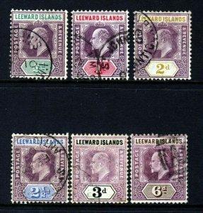 LEEWARD ISLANDS KE VII 1905-08 Wmk Mult Crown CA Part Set SG 29 to SG 34 VFU