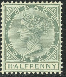 TOBAGO 1882-96 QV 1/2d Green Portrait Issue Sc 15 MLH