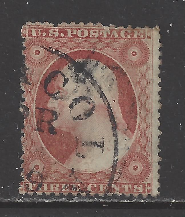 #26 US 3 CENT DULL RED WASHINGTON-USED-N/G-FINE