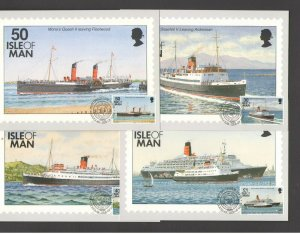 ISLE OF MAN:   4 PHQ CARDS- SHIPS WITH CANCELLED STAMPS -Fine Used.