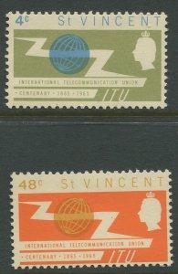 STAMP STATION PERTH St.Vincent #224-225 ITU 1965 MNH CV$1.00