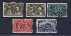5x Canada 1908 Quebec Stamps #96-1/2c MNH #96 to 99 Used Guide Value = $85.00