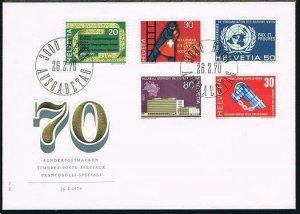 Switzerland 510-514,FDC.Michel 918-922. 1970.Telegraph,Fireman,UN,UPU.