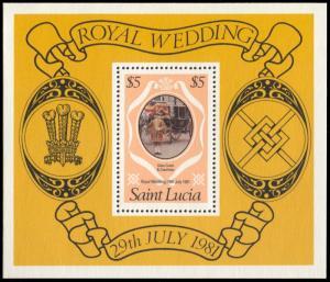 Saint Lucia 546, MNH, Charles and Diana Royal Wedding souvenir sheet