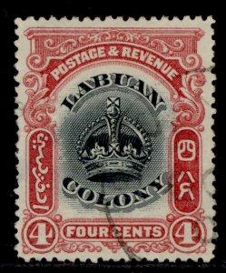 NORTH BORNEO - Labuan EDVII SG120a, 4c black & carmine, FINE USED. Cat £19.