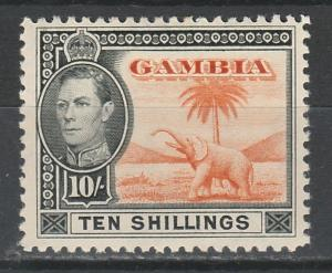 GAMBIA 1938 KGVI ELEPHANT 10/- TOP VALUE