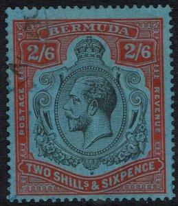 BERMUDA 1924 KGV 2/6 VARIETY BROKEN CROWN AND SCROLL WMK MULTI SCRIPT USED
