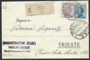 ITALY 1923 Registered postcard used within TRIESTE.........................43650