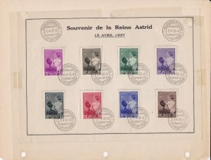Belgium Queen Astrid 1937 Public Utility Fund Souvenir Stamps Page Ref 45471