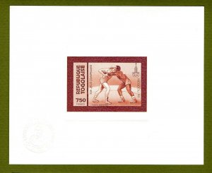Togo proof of gold issue Mi 157. 1980 Olympics Wrestling